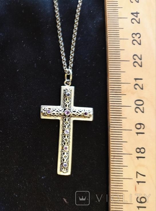 Серебряный крест с камнями аметистами, филиграная работа, цепочка, фото №4