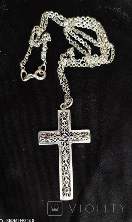 Серебряный крест с камнями аметистами, филиграная работа, цепочка, фото №6