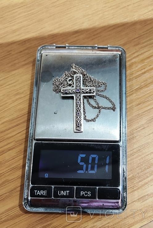 Серебряный крест с камнями аметистами, филиграная работа, цепочка, фото №7