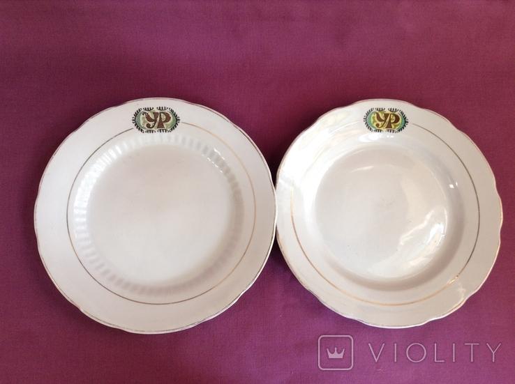 Тарелки обеденные УР. Украинский Ресторан. Фарфор, Коростень., фото №2