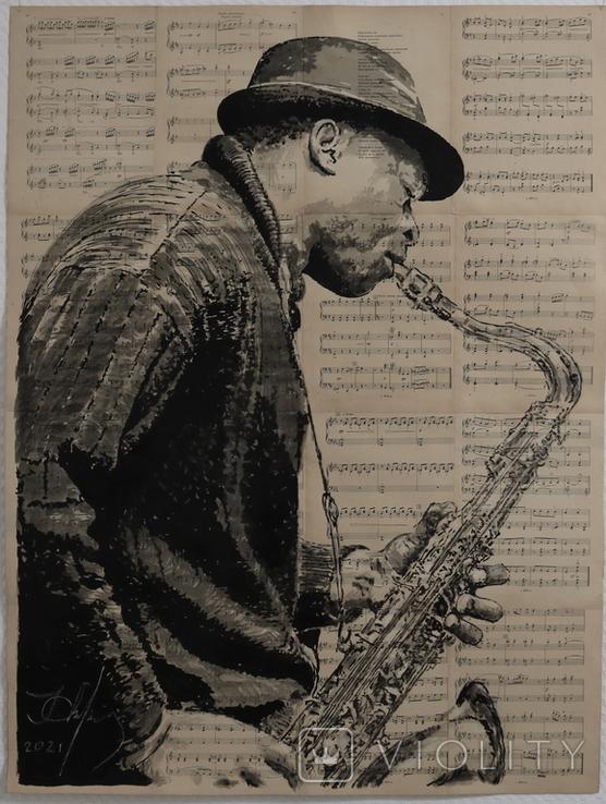 Саксофонист, акрил на страницах старых нотных книг, фото №2
