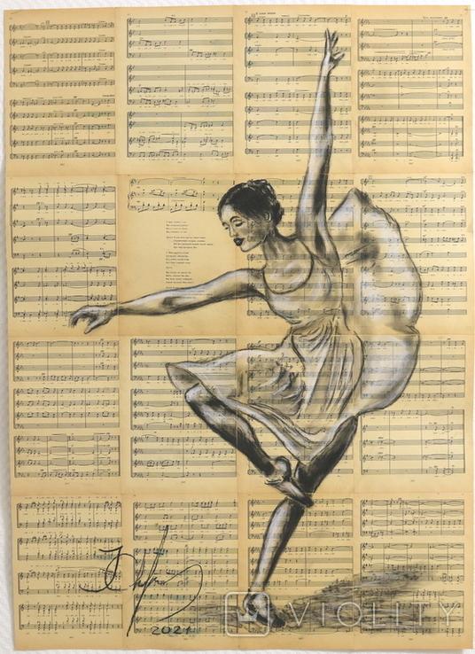 Балерина, акрил на страницах старых нотных книг, фото №2