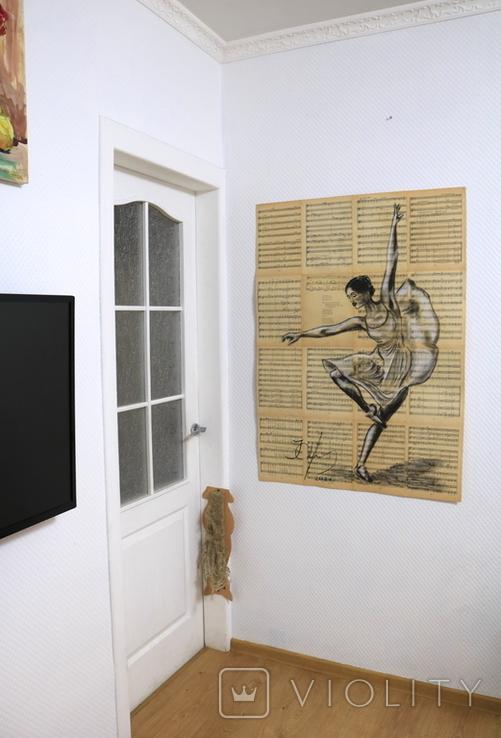 Балерина, акрил на страницах старых нотных книг, фото №4