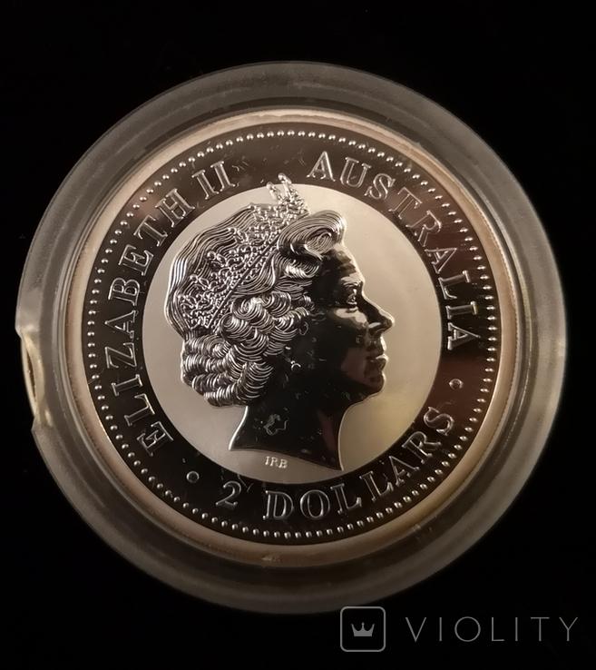 Австралия 2 доллара 2005 год Петуха серебро 2 унции 999 пробы, фото №3