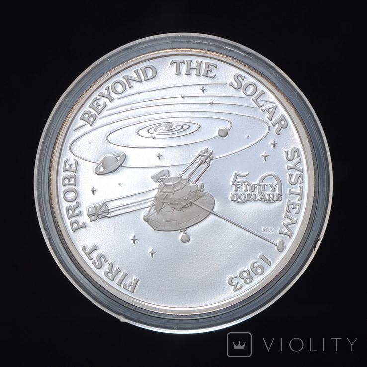 50 Долларов 1989 Первый Вылет за Пределы Солнечной Системы 1oz, Маршалловы Острова Унция, фото №2