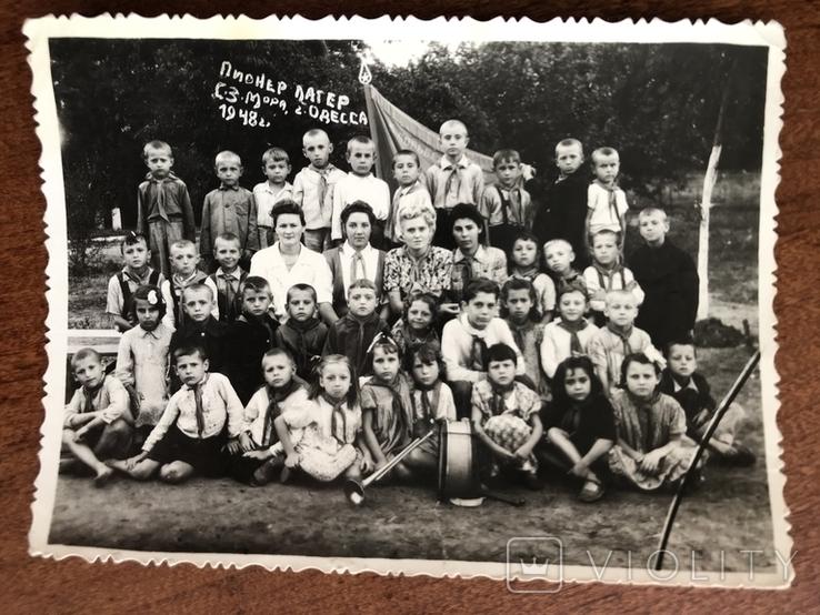 1948 Одесса Пионер лагерь Дети в галстуках Барабан Труба, фото №2