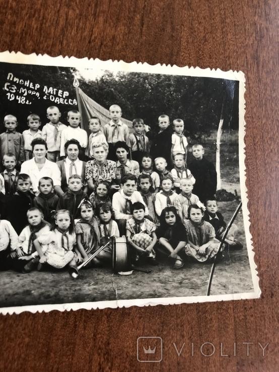 1948 Одесса Пионер лагерь Дети в галстуках Барабан Труба, фото №5