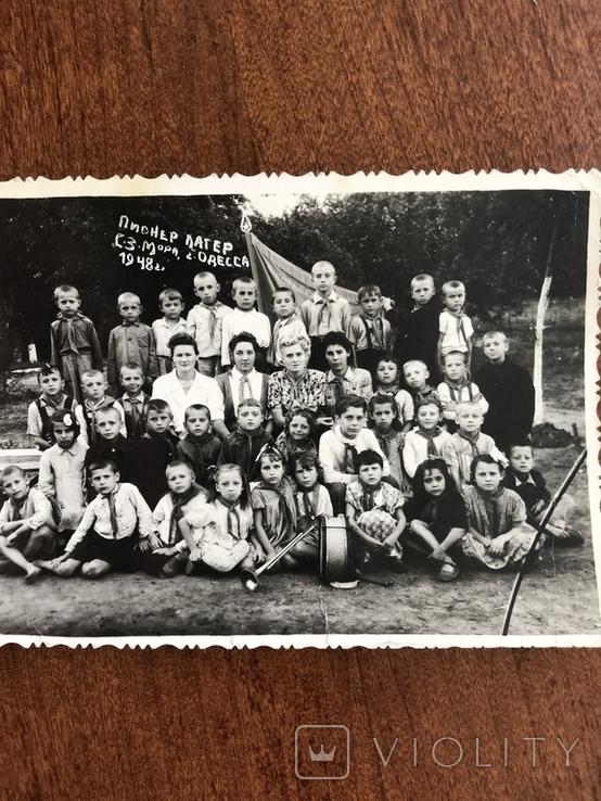 1948 Одесса Пионер лагерь Дети в галстуках Барабан Труба, фото №7