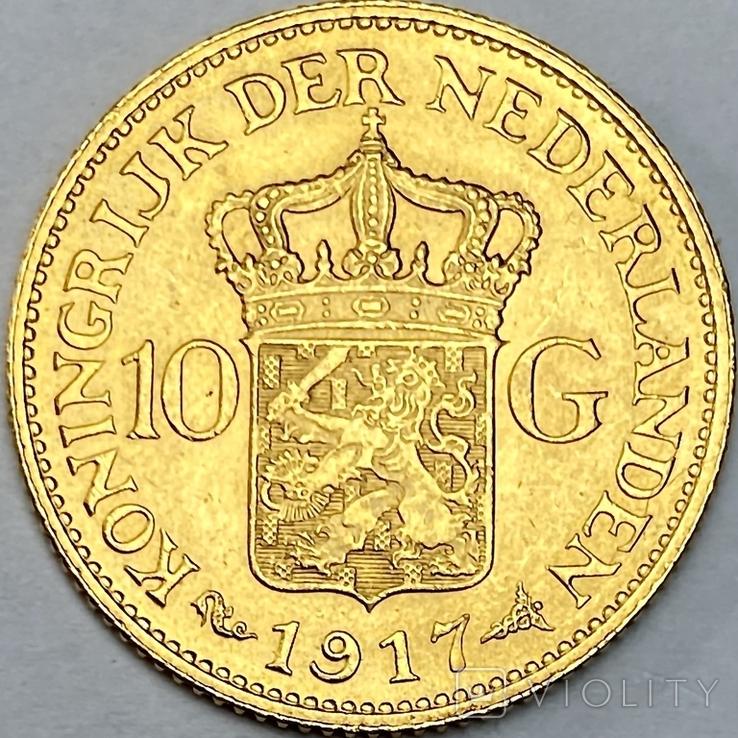 10 гульденов. 1917. Вильгельмина. Нидерланды (золото 900, вес 6,70 г), фото №3