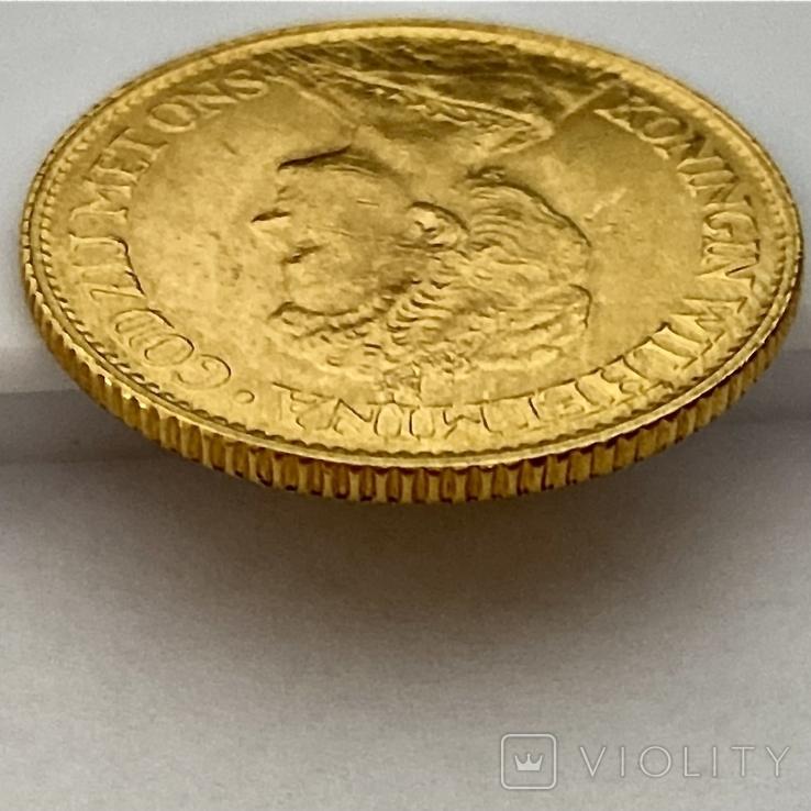 10 гульденов. 1917. Вильгельмина. Нидерланды (золото 900, вес 6,70 г), фото №5