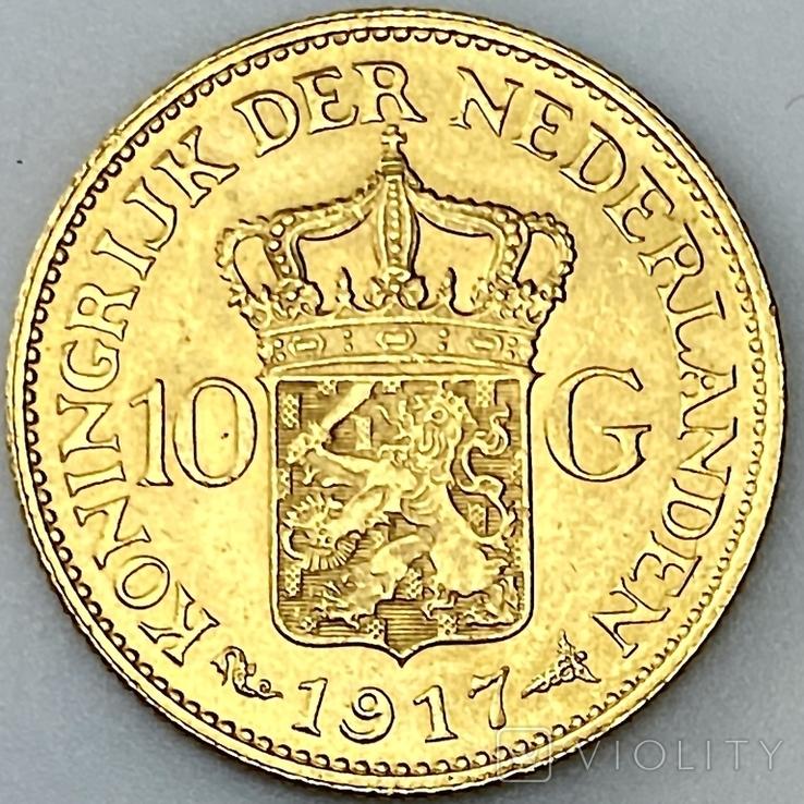 10 гульденов. 1917. Вильгельмина. Нидерланды (золото 900, вес 6,70 г), фото №9