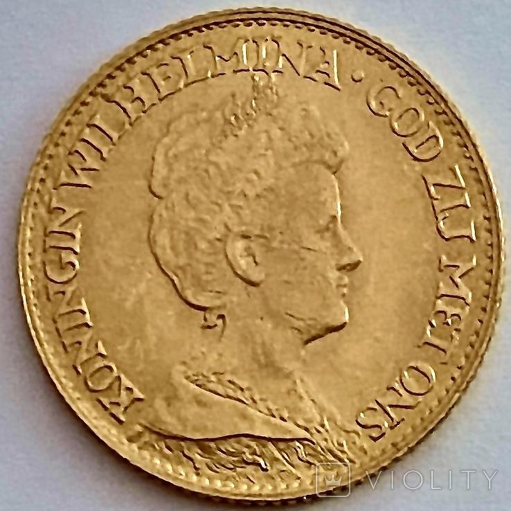10 гульденов. 1917. Вильгельмина. Нидерланды (золото 900, вес 6,70 г), фото №11