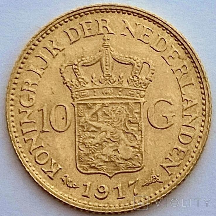 10 гульденов. 1917. Вильгельмина. Нидерланды (золото 900, вес 6,70 г), фото №12