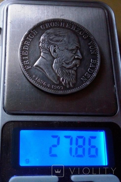 5 марок / 28 грам срібла 900 проби / 1907року Баден ///копія/, фото №9
