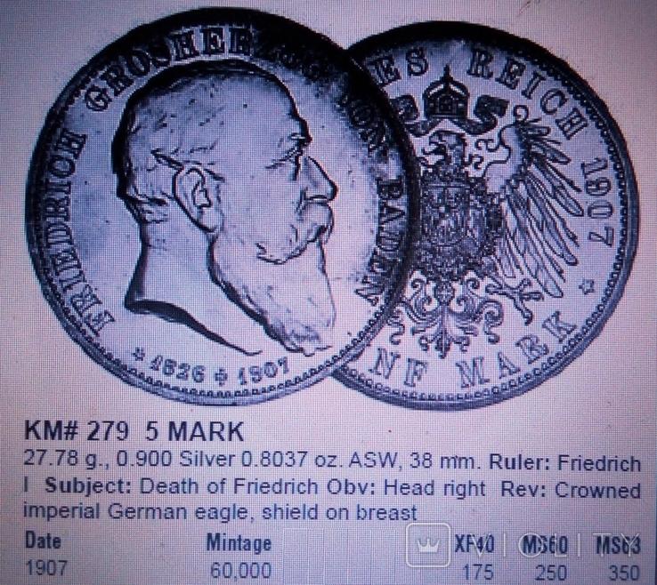 5 марок / 28 грам срібла 900 проби / 1907року Баден ///копія/, фото №11