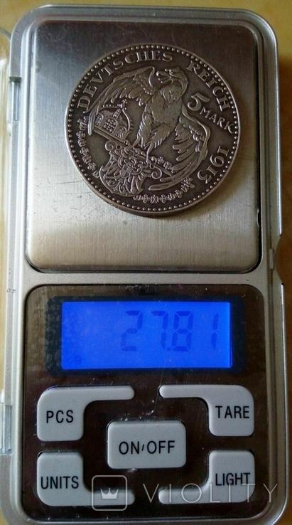 5 марок / 27,8 грам срібла 900 проби / 1913 року Прусія ///копія пробної/, фото №4