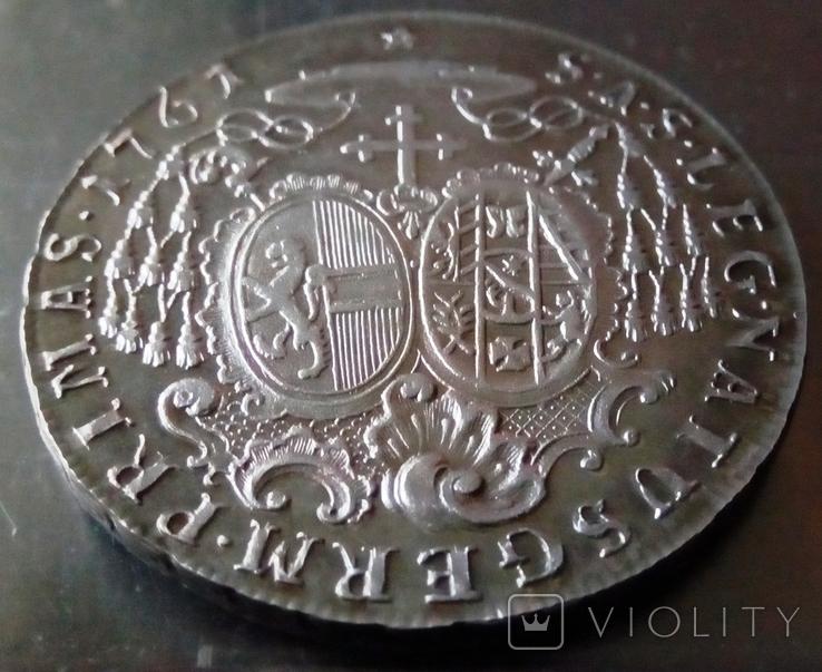 1 таляр /27 грам срібла 900 проби/ Зальцбург 1761 р. ( дуже високоякісна копія), фото №5