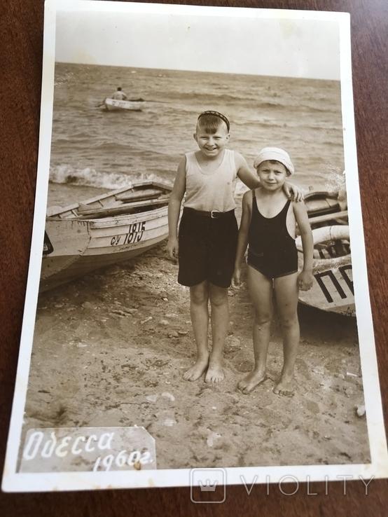 1960 Одесса Дети на берегу Лодка, фото №2
