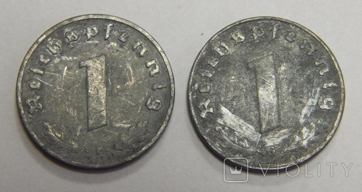 2 монеты по 1 рейхспфеннигу, Третий Рех, фото №2