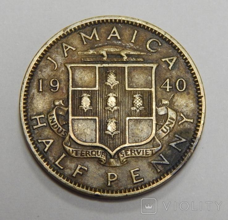 1/2 пенни, 1940 г Ямайка, фото №2