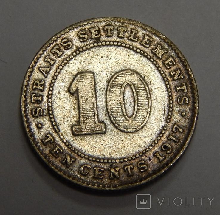 10 центов, 1917 г Стреитс Сеттлмент, фото №2