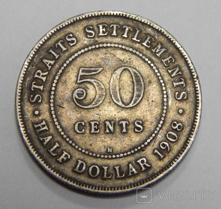 1/2 доллара (50 центов) 1908 Н Стреитс Сеттлмент, фото №2