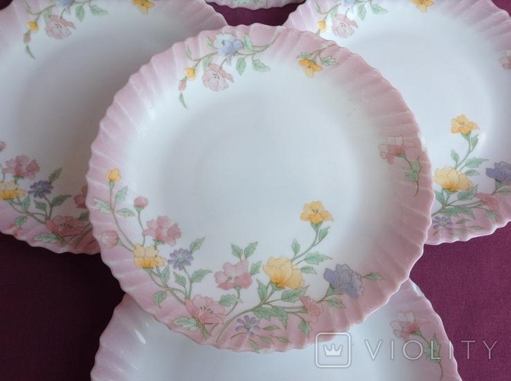 Тарелки плоские столовые Весенние цветы. Arcopal France., фото №3