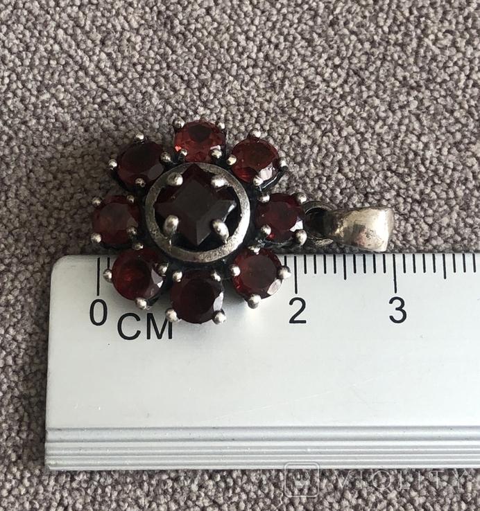 Серебряный кулон с гранатом (серебро 925 пр, вес 9,5 гр), фото №4