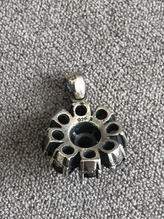 Серебряный кулон с гранатом (серебро 925 пр, вес 9,5 гр), фото №7