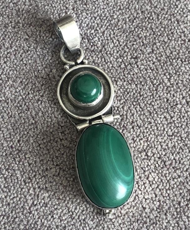 Серебряная подвеска с малахитом (серебро 925 пр, вес 9,3 гр), фото №4