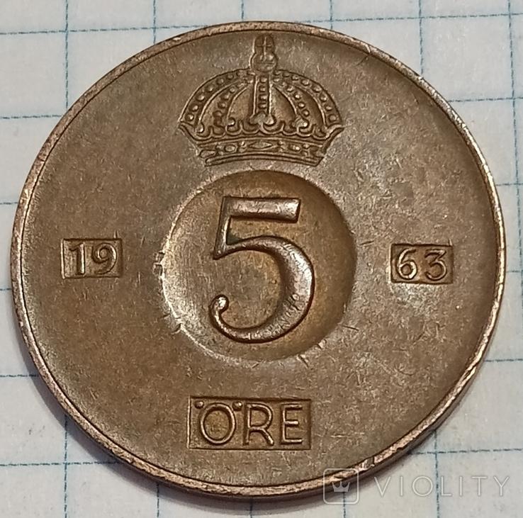 Швеция 5 оре 1963, фото №2