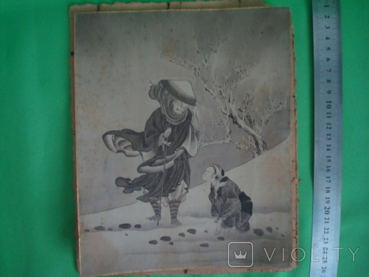 Старая гравюра на шёлке 25/21см., фото №3
