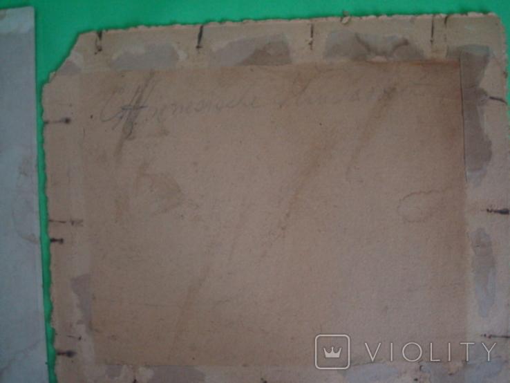 Старая гравюра на шёлке 25/21см., фото №7