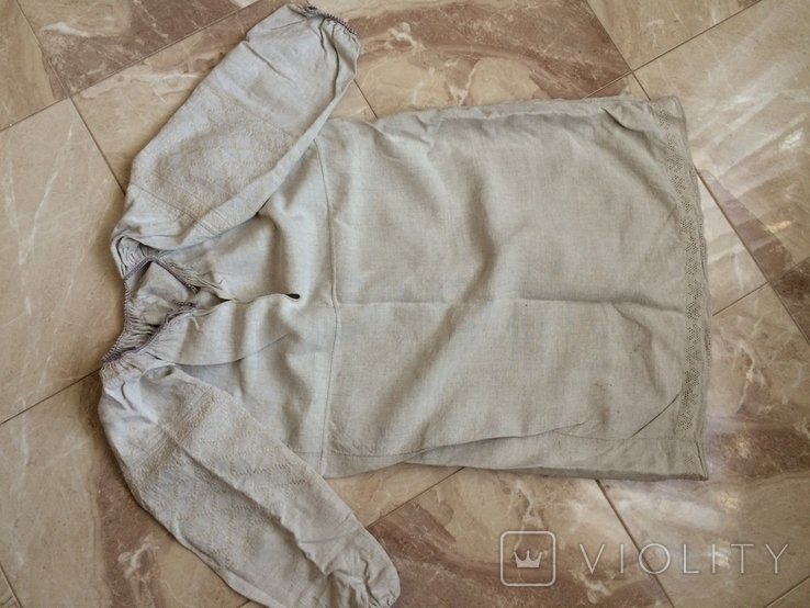 Сорочка из домотканого полотна - вышивка белым, фото №2
