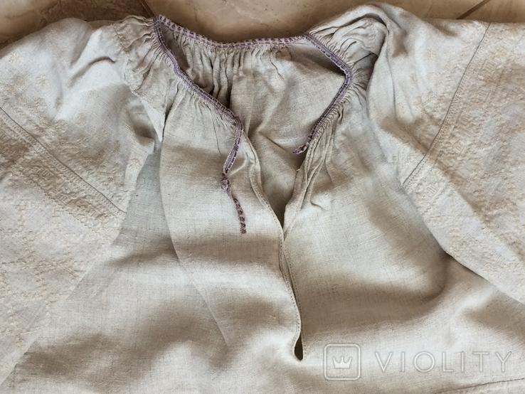 Сорочка из домотканого полотна - вышивка белым, фото №5