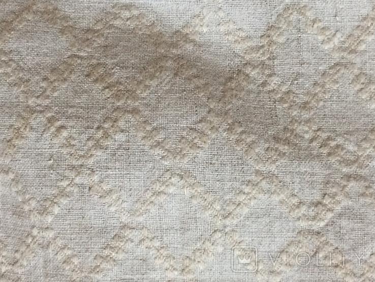 Сорочка из домотканого полотна - вышивка белым, фото №7