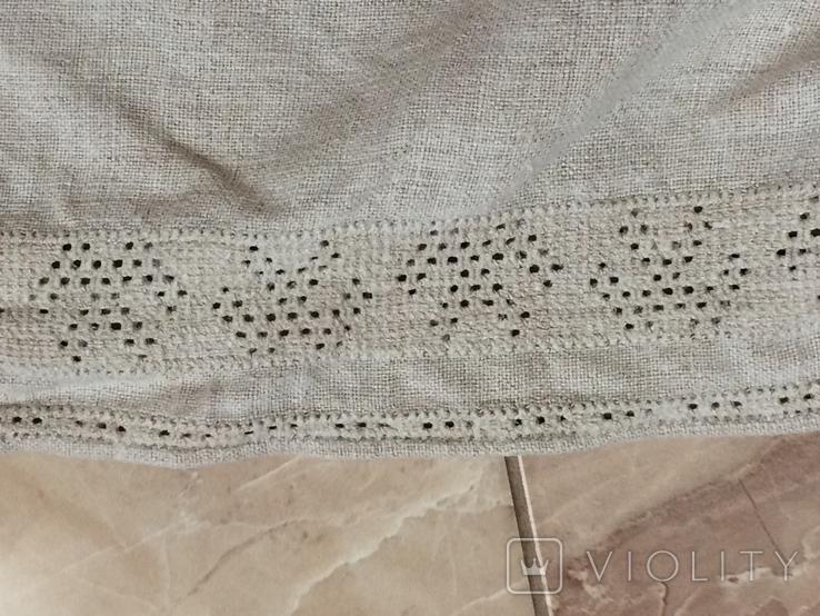 Сорочка из домотканого полотна - вышивка белым, фото №8