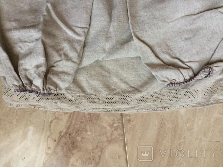 Сорочка из домотканого полотна - вышивка белым, фото №11