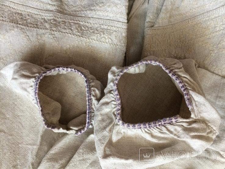 Сорочка из домотканого полотна - вышивка белым, фото №12