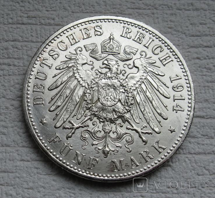 5 марок 1914 г. Пруссия, серебро, фото №4