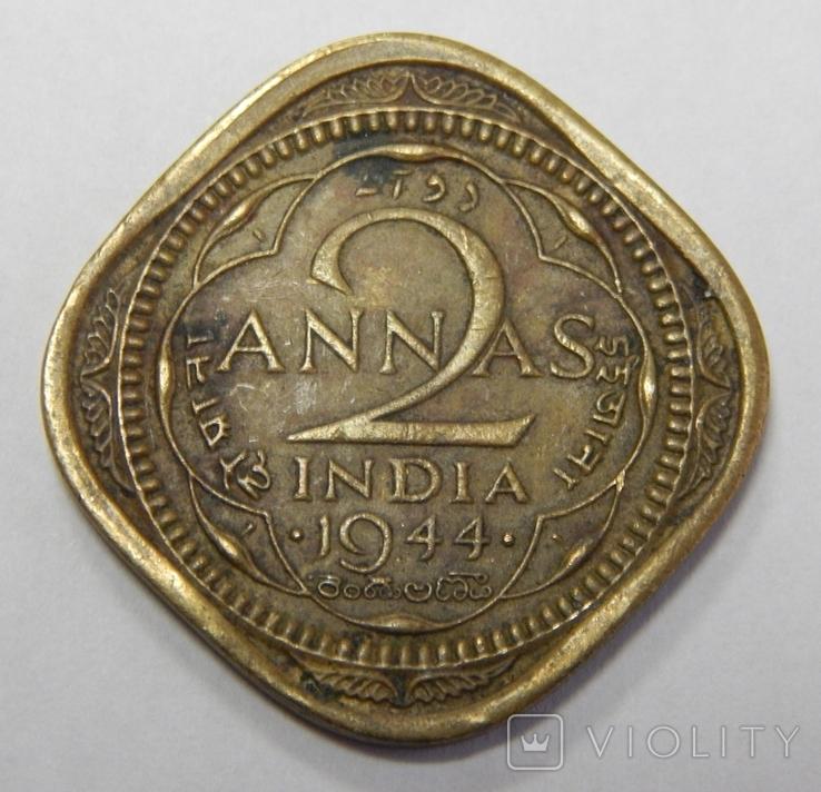 2 анна, 1944 г Индия, фото №2