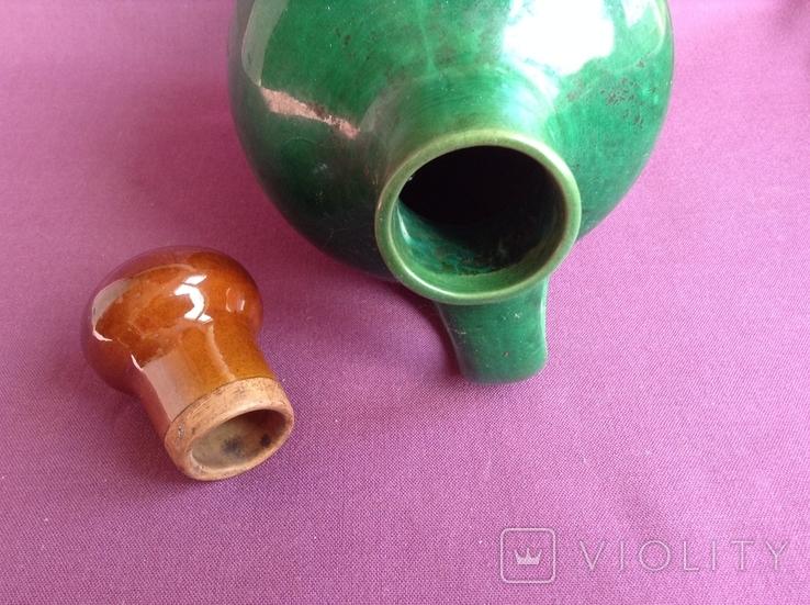 Кувшин с пробкой Малахитовый. Керамика. Объём 2 л., фото №5