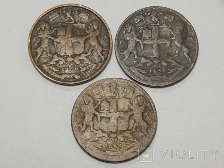 3 монеты по 1/4 анна, Британская Индия, 1858 г., фото №3
