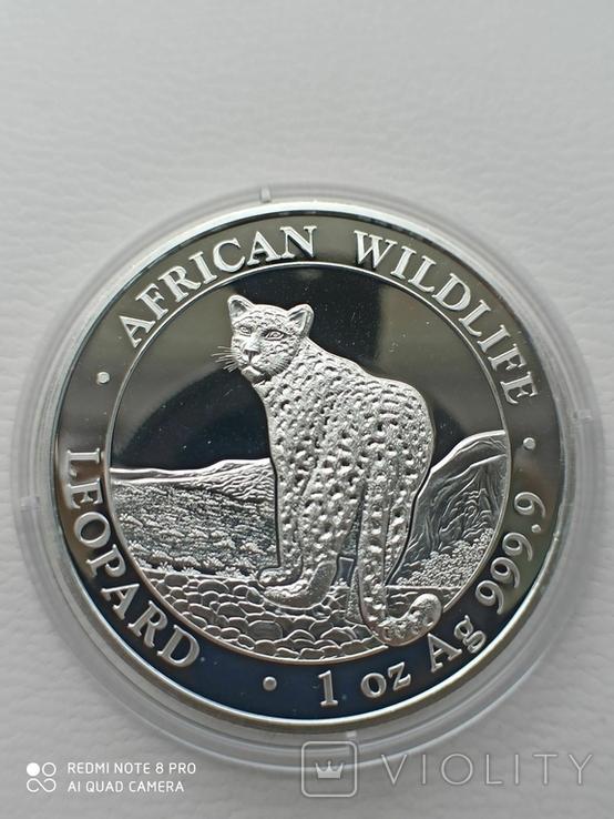 "Afrikan Wildlife Срібна монета Сомалі ""Леопард"" 2018 р., фото №2"