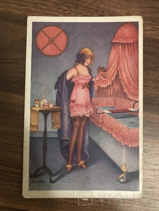 Открытка Париж Девушка Cabinet de Toilette Листівка, фото №2