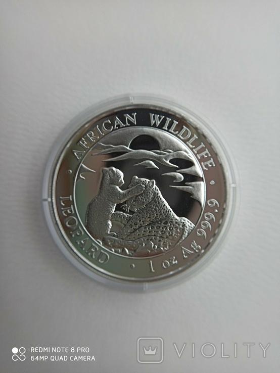 "Afrikan Wildlife Срібна монета Сомалі ""Леопард"" 2019 р., фото №2"