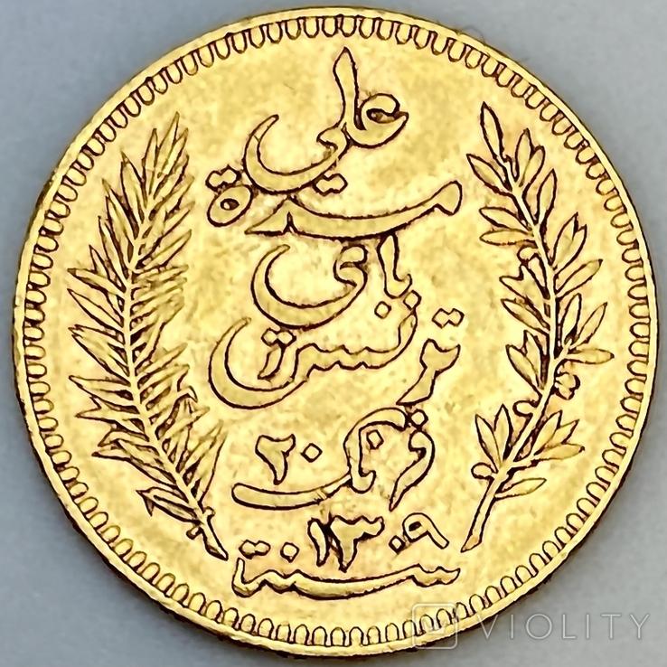 20 франков. 1892. Тунис (золото 900, вес 6,43 г), фото №2