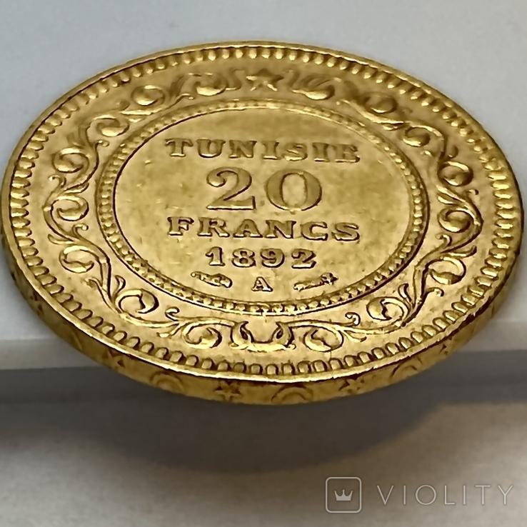 20 франков. 1892. Тунис (золото 900, вес 6,43 г), фото №11