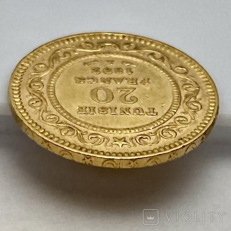 20 франков. 1892. Тунис (золото 900, вес 6,43 г), фото №12