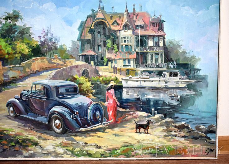 """Картина, масло, холст, """"Дама с таксой"""" 55х75, автор Сергей Тюпо, фото №2"""